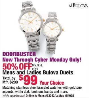 Boscov's Black Friday: Bulova Men's and Ladies Duet Watches for $99.00