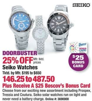 Boscov's Black Friday: Seiko Watches, Assorted Styles + $25 Boscov's Card for $146.25 - $487.50