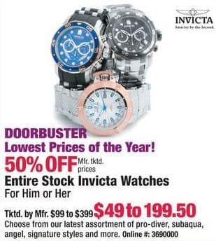Boscov's Black Friday: Invicta Women's or Men's Watches for $49.00 - $199.50