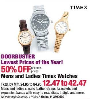 Boscov's Black Friday: Timex Mens and Ladies Watches, Assorted Styles for $12.47 - $42.47