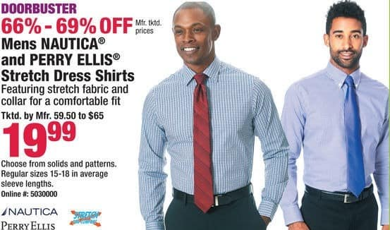 Boscov's Black Friday: Nautica, PerryEllis Men's Stretch Dress Shirts, Assorted Solids & Patterns for $19.99