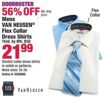 Boscov's Black Friday: Van Heusen Men's Flex Collar Dress Shirts for $21.99
