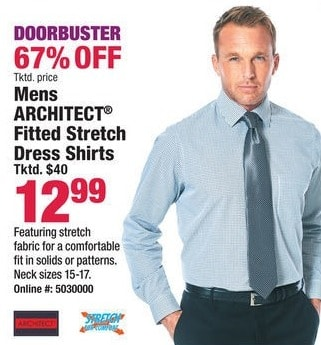 Boscov's Black Friday: Architect Men's Fitted Stretch Dress Shirts for $12.99