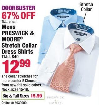 Boscov's Black Friday: Preswick & Moore Men's Big & Tall Stretch Collar Dress Shirts for $15.99