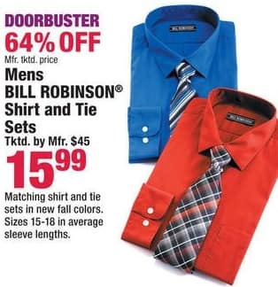 Boscov's Black Friday: Bill Robinson Men's Shirt and Tie Sets for $15.99