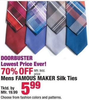 Boscov's Black Friday: Famous Maker Men's Silk Ties, Assorted colors and Patterns for $5.99