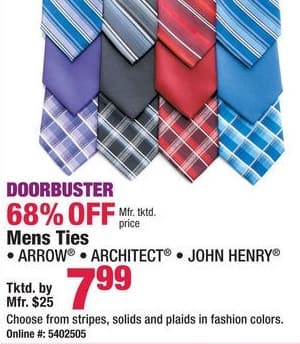 Boscov's Black Friday: Arrow, Architect or John Henry Men's Ties, Assorted Styles and Colors for $7.99