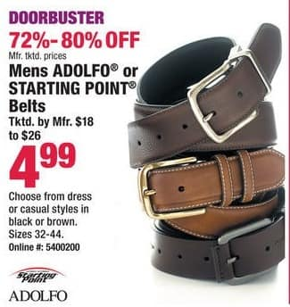 Boscov's Black Friday: Adolfo or Starting Point Men's Black or Brown, Dress or Casual Style Belts for $4.99