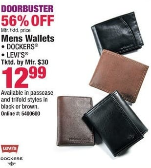 Boscov's Black Friday: Dockers or Levi's Men's Trifold Black or Brown Wallets for $12.99