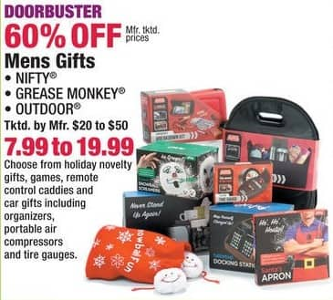 Boscov's Black Friday: Nifty, Grease Monkey or Outdoor Men's Assorted Novelty Gifts for $7.99 - $19.99