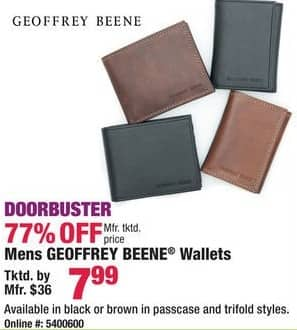Boscov's Black Friday: Geoffrey Beene Men's Black or Brown, Passcase or Trifold Style Wallets for $7.99