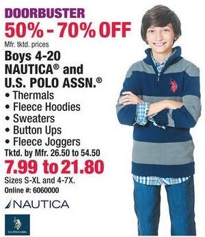 Boscov's Black Friday: Nautica or U.S. Polo Assn. Boys Thermals, Hoodies, Sweaters, Button Ups or Fleece Joggers for $7.99 - $21.80