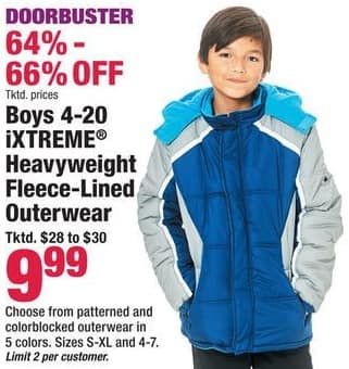 Boscov's Black Friday: iXtreme Boys Heavyweight Fleece-Lined Outerwear, Assorted Patterns and Colors for $9.99