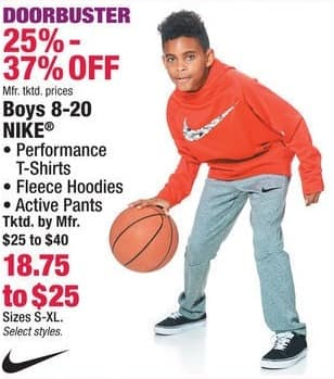 Boscov's Black Friday: Nike Boys T-Shirts, Fleece Hoodies or Active Pants for $18.75 - $25.00