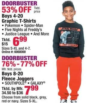 Boscov's Black Friday: Graphic Boys Pokemon, Spider-Man, Five Nights at Freddy's, Justice League and More T-Shirts for $6.99
