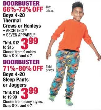 Boscov's Black Friday: Architect or Seven Apparel Boys Thermal Crews or Henleys, Assorted Colors for $3.99