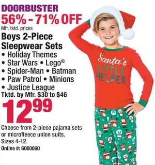 Boscov's Black Friday: Boys 2-Piece Sleepwear Holiday Themes, Star Wars, Lego and More Sets for $12.99