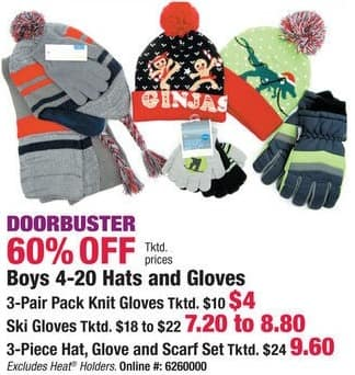 Boscov's Black Friday: Boys Assorted Hats, Gloves or Sets - 60% Off