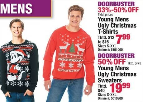 Boscov's Black Friday: Young Men's Ugly Christmas T-Shirts for $7.99