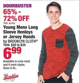 Boscov's Black Friday: Brooklyn Cloth Young Mens Long Sleeve Henleys or Jersey Hoods for $6.99