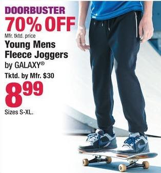 Boscov's Black Friday: Galaxy Young Men's Fleece Joggers for $8.99