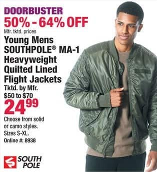 Boscov's Black Friday: Southpole MA-1 Young Men's Heavyweight Quilted Lined Flight Jackets for $24.99