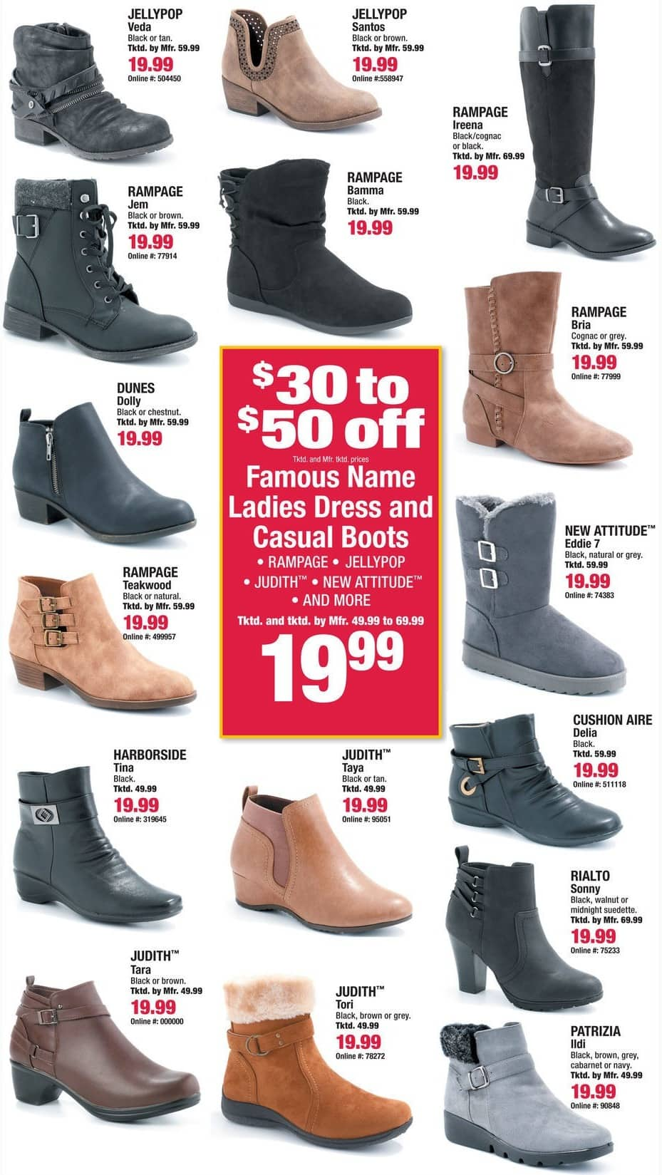Boscov's Black Friday: Rampage, Judith, Jellypop Ladies Dress and Casual Boots, Assorted Colors and Styles for $19.99