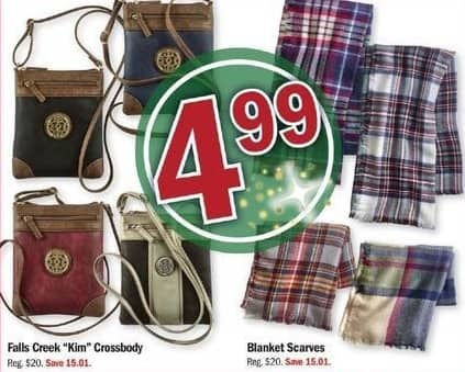 "Meijer Black Friday: Falls Creek ""Kim"" Crossbody or Blanket Scarves, Select Colors for $4.99"