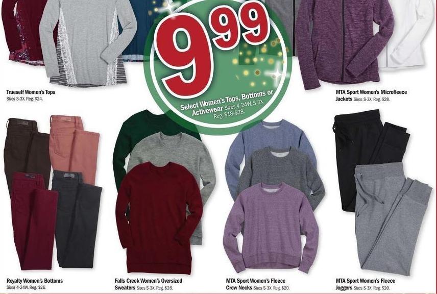 Meijer Black Friday: MTA Sport Women's Fleece Crew Necks, Select Colors for $9.99