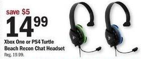 Meijer Black Friday: Xbox One or PS4 Turtle Beach Recon Chat Headset for $14.99
