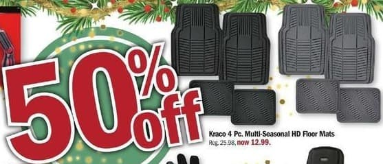 Meijer Black Friday: Kraco 4-pc. Multi-Seasonal HD Floor Mats - 50% Off
