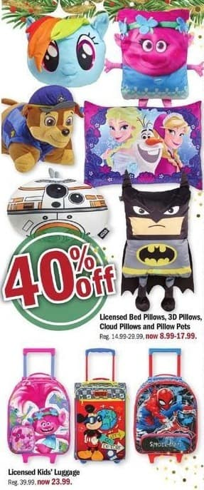 Meijer Black Friday: Licensed Bed Pillows, 3D Pillows, Cloud Pillows, Pillow Pets or Kids Luggage - 40% Off