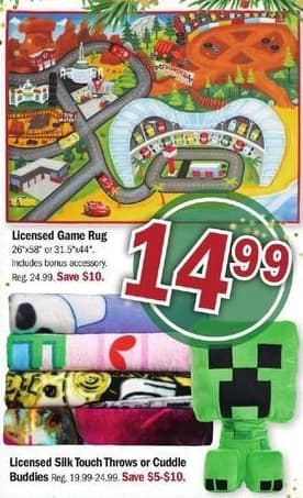 Meijer Black Friday: Licensed Game Rug, Silk Touch Throws or Cuddle Buddies for $14.99