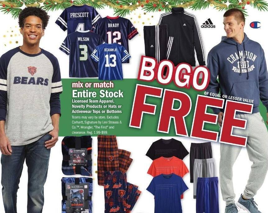 Meijer Black Friday: Licensed Team Apparel, Hats, Tops or Bottoms - B1G1 Free