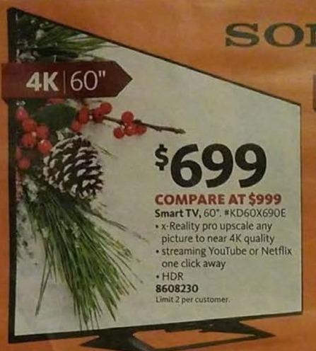 """AAFES Black Friday: 60"""" Sony KD60X690E 4K HDR Smart TV for $699.00"""