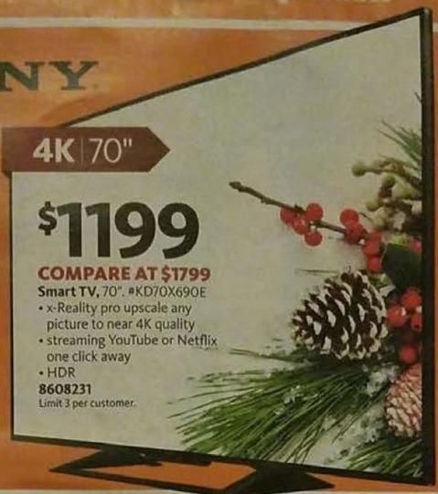 """AAFES Black Friday: 70"""" Sony KD70X690E 4K HDR TV for $1,199.00"""