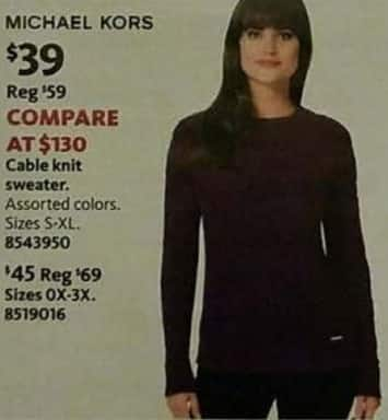 AAFES Black Friday: Michael Kors Women's Cable Knit Sweater for $39.00