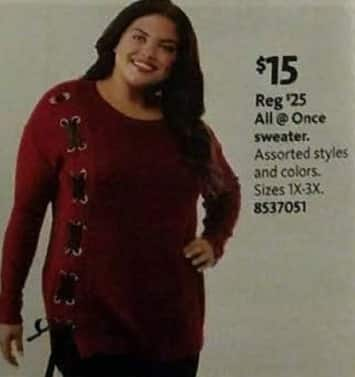 AAFES Black Friday: All @ Once Women's Sweater, Assorted Styles and Colors for $15.00