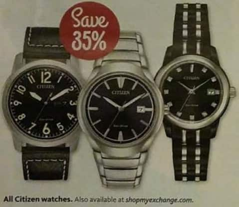 AAFES Black Friday: Citizen Watches, Assorted Styles - Save 35%