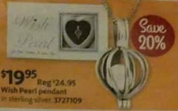 AAFES Black Friday: Wish Pearl Women's Sterling Silver Pendant for $19.95