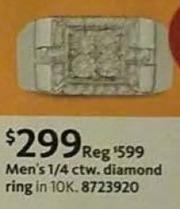 AAFES Black Friday: 1/4 ctw. Men's Diamond Ring for $299.00