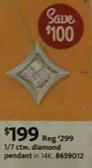 AAFES Black Friday: 1/7 ctw. Women's 14K Diamond Pendant for $199.00