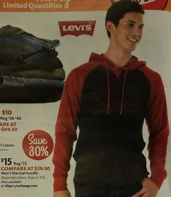 AAFES Black Friday: Levi's Men's Thermal Hoodie, Assorted Colors for $15.00