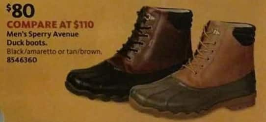 AAFES Black Friday: Sperry Avenue Men's Black/Amaretto or Tan/Brown Duck Boots for $80.00