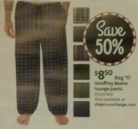 AAFES Black Friday: Geoffrey Beene Men's Lounge Pants for $8.50