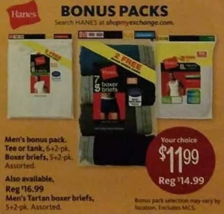 AAFES Black Friday: Hanes Men's Tee's, Tanks, Boxer Briefs or Tartan Boxer Briefs for $11.99