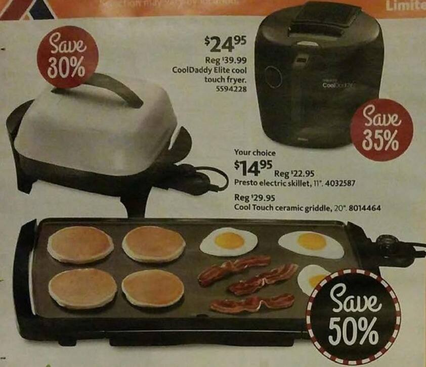 """AAFES Black Friday: Presto 11"""" Electric Skillet or Cool Touch 20"""" Ceramic Griddle for $14.95"""