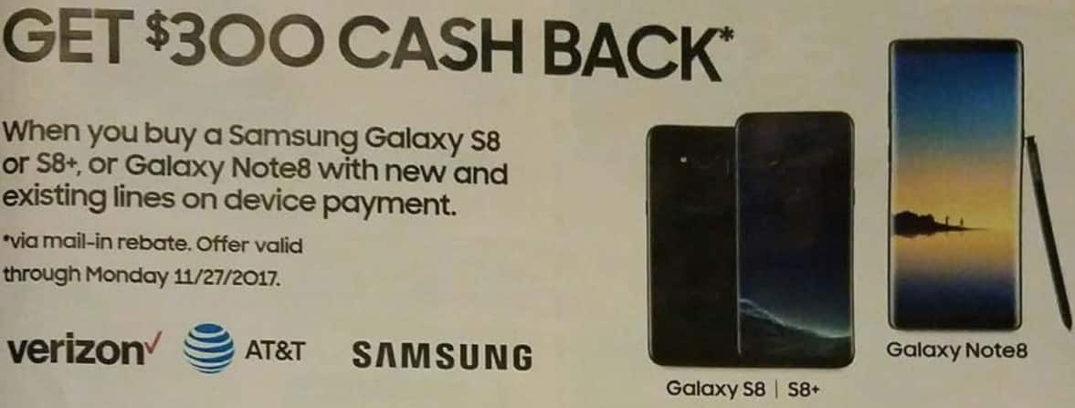 AAFES Black Friday: Buy Samsung Galaxy S8, Verizon or AT&T, with New And Existing Lines On Device Payment - $300 Cash Back