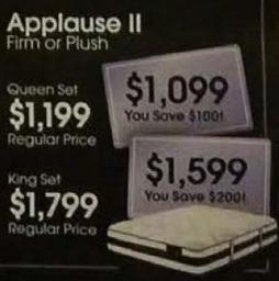 AAFES Black Friday: Serta Applause II Firm or Plush Mattress King Set for $1,799.00
