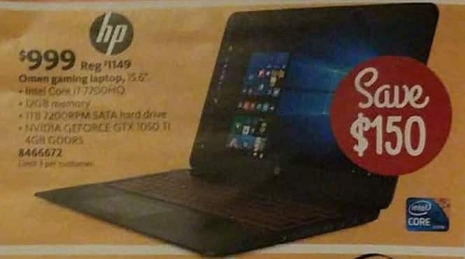 AAFES Black Friday: HP Omen Gaming 15.6-in. Laptop Intel Code i7, 12GB RAM, 1TB HDD, GTX 1050 Gaming Laptop for $999.00